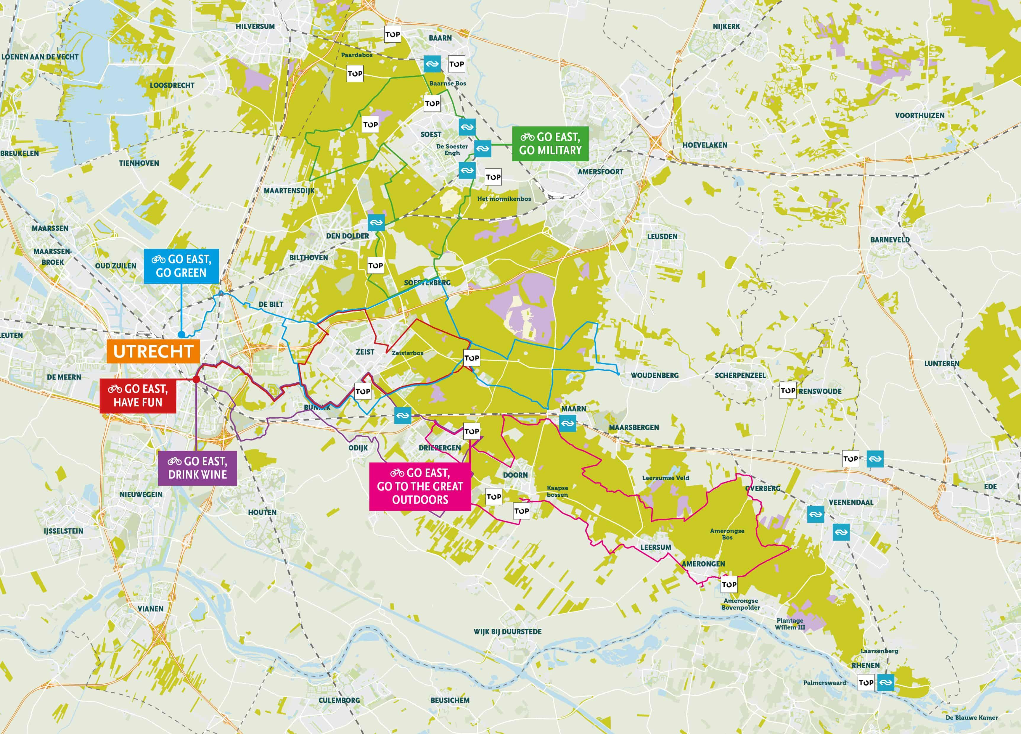 Plattegrond cycling utrecht region