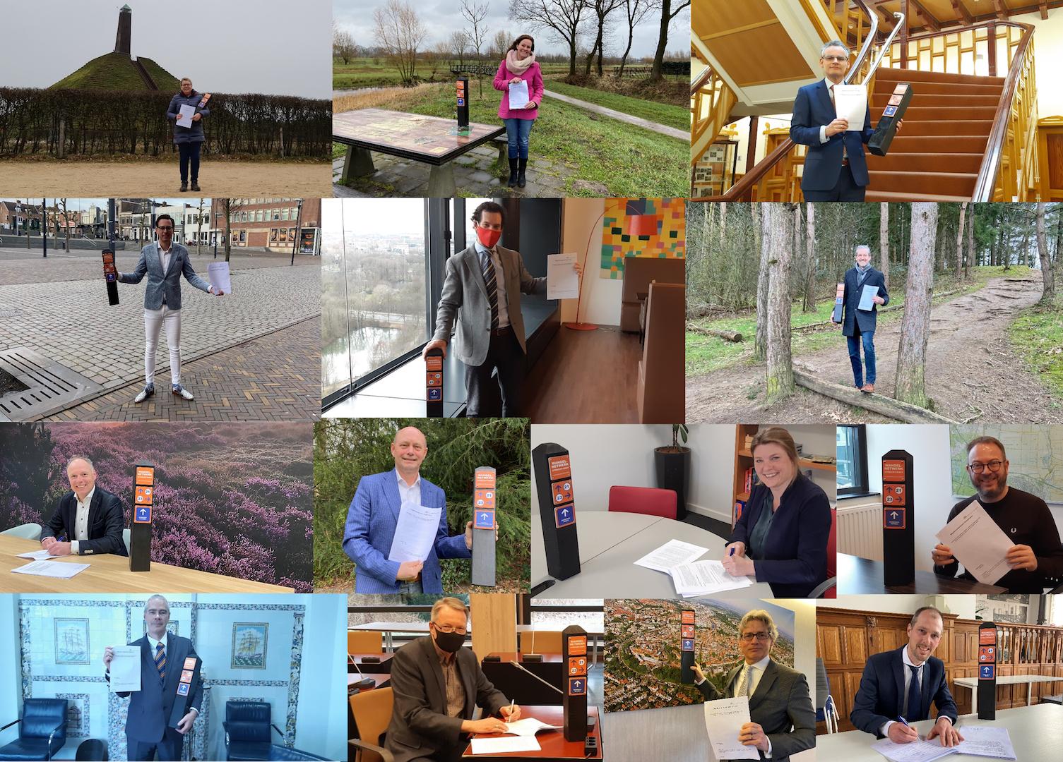 Bestuurders van provincie Utrecht en 13 gemeenten geven het startsein voor realisatie van het wandelroutenetwerk Utrecht-oost